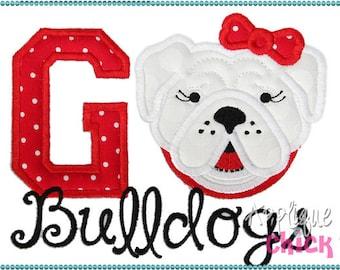 Personalized Football Bulldog Face Applique Shirt or bodysuit