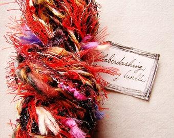 Poppy Splash red multi color fringe flag trim Novelty Fiber Yarn Ribbon Sampler Bundle