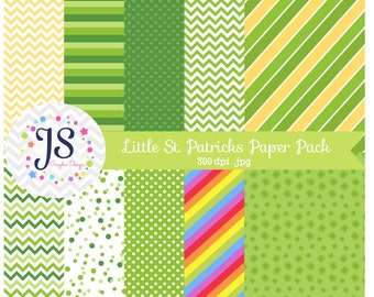 INSTANT DOWNLOAD - Little St Patricks Day Digital Papers for Personal and Commercial Use