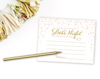 Pink and Gold Bridal Shower Date Night Ideas for the Newlyweds Cards . Bridal Shower Games Printable Instant Download . Gold Glitter Pink