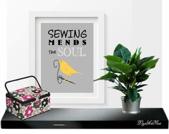 Sewing Mends The Soul Art Print, Sewing Room Decor, Bird, Needle and Thread, Seamstress Gift