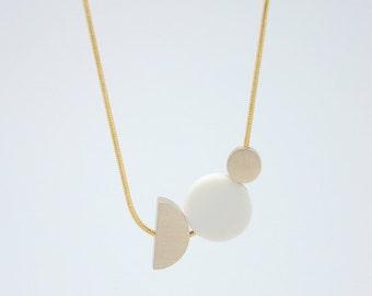 WHITE PORCELAIN Necklace // porcelain jewelry // geometric jewelry