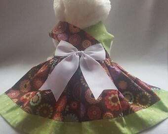 Brown & Green Flower Dog Dress