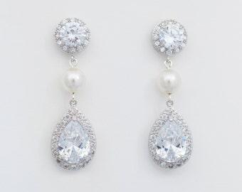 Bridal Crystal and Pearl Earrings, Long Bridal Earrings,  Long Wedding Earrings, Bridal Pearl CZ Earrings