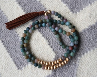 Long beaded India agate necklace with suede tassel