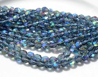 Montana Blue AB 6mm Faceted Fire Polish Round Czech Glass Beads  25