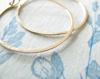 14k Solid Gold Artisan Hoop Earrings endless 1.25 inch round hoops