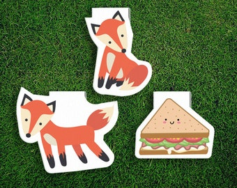 Magnetic Bookmark Set | Fox and Sandwich Cute, Quirky, Kawaii, Food, Woodland creatures, chernobyl, Magnet Bookmark