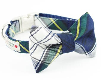 Navy Plaid Dog Bowtie Collar