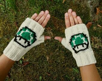 Retro Nintendo Green 1 Up Mushroom Fingerless Gloves - Super Mario Bros Knit Gloves - Mario Wristwarmers - Knit Comic Con Fingerless Gloves
