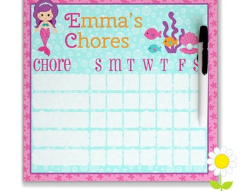 Personalized Chore Chart for Kids - Girls' Mermaid Chore Chart - Dry Erase Weekly Responsibility Chart - Magnetic Mermaid Chore Chart