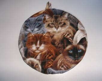 Cat Quilted, Pot Holders, Potholders, Hot Pads, Trivet Round, Cats, Handmade, 9 Inches, Double Insulated, Kitchen Decor,  Hostess Gift