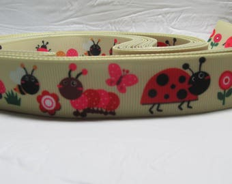 "5 yards Grosgrain ribbon 7/8"" ladybugs, flowers on beige/light brown"