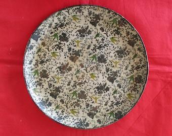 Antique Victorian Papier Mache Circular Decorated Tray