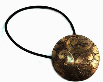 Metal Ponytail Holder, Oriental Flower and Flourishes, French Vintage Brass Button with Antique Patina, Elastic Hair Tie, Renaissance Style