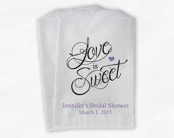 Love Is Sweet Calligraphy Bridal Shower Candy Buffet Treat Bags - Personalized Favor Bags in Lavender - 25 Custom Paper Bags (0122)