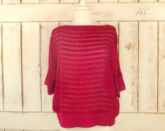 Vintage pink striped top/fuchsia pink velour blouse/slouchy top