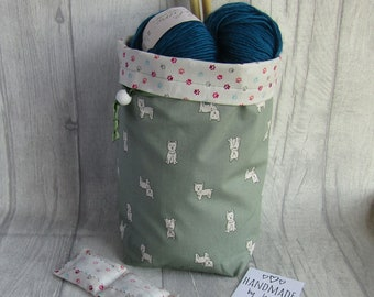 West Highland Terrier Knitting Project Bag, Crochet Bag, dice bag, sock project bag, wip bag, drawsting bag, crochet, weaving, embroidery,