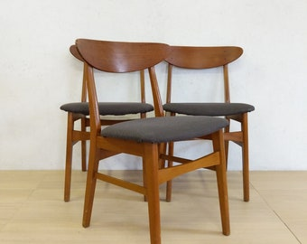Set of 3 Vintage Danish Modern Dining Chairs - Free NYC Delivery!