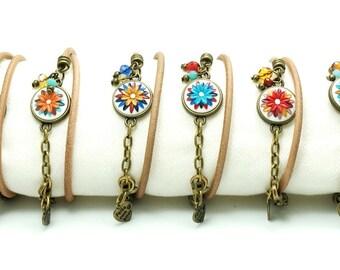 Colorful leather wrap bracelet, charm flower bracelet, unique friendship boho bracelet, girlfriend gift, anniversary gift for girl