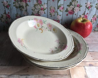 Gorgeous Vintage Soup Bowls - Edwin M. Knowles China Co. - Matching Set of 3