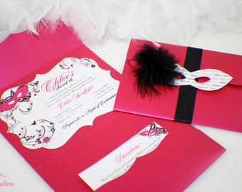 Masquerade Invitation - Frame Shape | Sweet 16 | Quinceañera | Birthday | Sweet 15 | Mask | Feather | Whimsical | Please Read Instructions