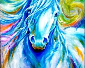 Original oil painting 30x24 white horse painting unframed, blue horse, running horse