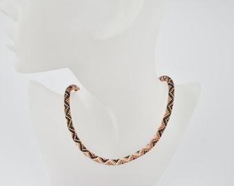 rosegold zigzag - Beaded Bracelet Bead Crochet Bracelet - Colorful Beadwork Jewelry