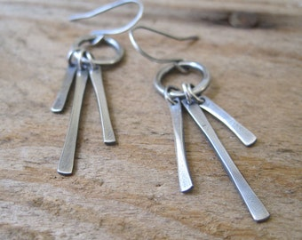 Modern Fringe Earrings, Fine Silver, Long Dangle, Starburst Earrings, Long Silver Earrings