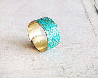 Turquoise gold band ring, turquoise floral band ring, turquoise gold adjustable ring, turquoise wide band ring, spring floral ring