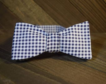 Blue & White Gingham Self Tie Bow Tie