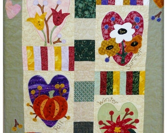 Four Seasons Heart Quilt Pattern PDF - wallhanging poinsetta primitive