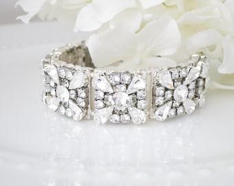 Statement rhinestone bridal bracelet, Vintage style wedding bracelet, Swarovski crystal cuff, Art Deco bracelet,  Mother of Bride bracelet