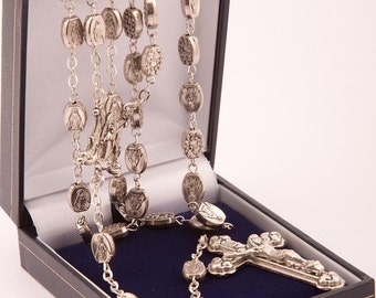 Miraculous Medal Rosary Beads. Each Bead is a Miraculous Medal Image of Our Lady. Holy Communion Gift