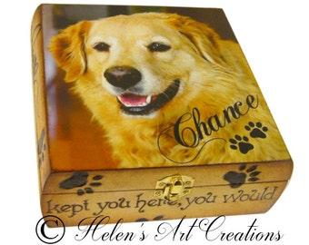 Pet Memorial Box, Pet Keepsake Box, Dog Urn, Wood Urn, Personalized Keepsake Box, Photo Keepsake Box, Custom Pet Photo, Animal Box