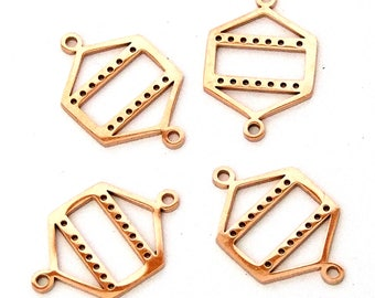 Centerline Bright Rose Gold Plated Links Findings Package Of 4