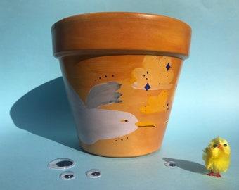 Hand Painted Terracotta Pot - Orange, Seagulls, Sparkle, 16cm