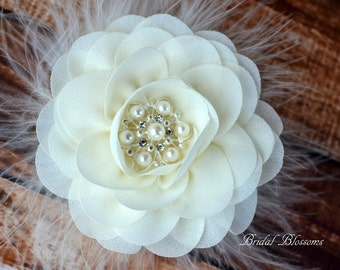BEST SELLER - Ivory Chiffon Flower Hair Clip | Vintage Inspired Bridal Hair Piece | Fascinator | Flower Girl Feathers Pearl Rhinestone