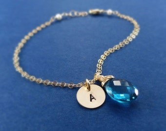 Bridal Jewelry Set of SEVEN Bracelets, Custom color gemstone bracelets, initial bracelets, adjustable, wedding jewelry, bridal jewelry gifts