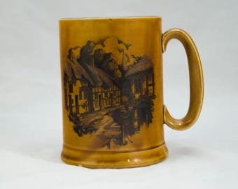 Vintage European Beer Stein, Beer Mug, Beer Glass - Brown glazed Ceramic with European Village printing on one sie.
