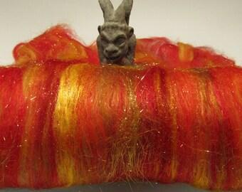 NEW YEAR'S EVE 4.0 oz, fiber art batt for spinning, sari silk, Angelina, roving, felting fiber, carded wool, fiber batt,  spinning fiber