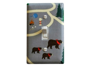 Camping Light Switch Plate Cover / Bears, Campfire, Thermos Hiking / Boys Girls Room Kitchen / Gray