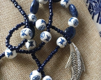 Asian Fish Necklace Blue and White Porcelain and Sodalite Beads by RICHARME