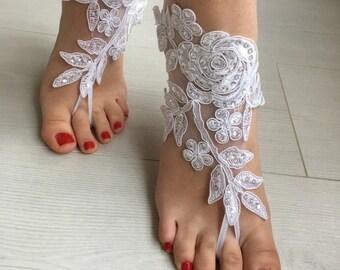 White Lace Barefoot Sandals, Beach Wedding sandals, Bridal  Shoes, Beach wedding, foot jewelry  Bridesmaid sandals, Bridal Barefoot sandals