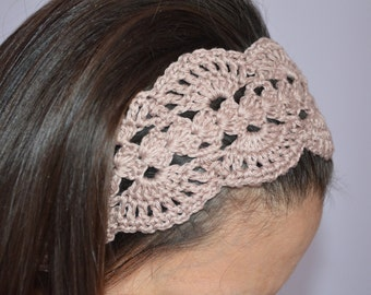 Lace adult headband, womens hair accessories, Beige headband women, crochet headband, boho headband, adult headband cotton, lace hairband