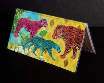 Checkbook Cover - Neon Jungle - wild cats check book holder - retro mod kitsch accessory - magenta, teal, orange, lime - tigers and leopards