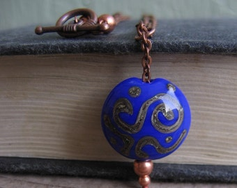 Blue Glass Necklace, Copper Necklace, Glass Pendant, Copper Chain, Chain Necklace, Copper Jewelry, Handmade jewelry