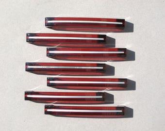 Vintage Red Lucite Drawer Pulls Set of 7 Acrylic Drawer Handles Inlaid Metal Stripes Vintage Hardware Furniture Restoration Supplies