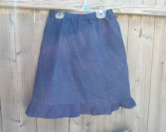 Solid denim skirt with pleated ruffle