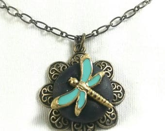 Dragonfly Pendant, Dragonfly Necklace, Turquoise Dragonfly, Dragonfly Button, Antique Look, Pond Life,